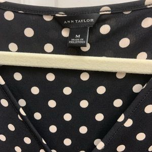 Ann Taylor black and cream polkadot dress